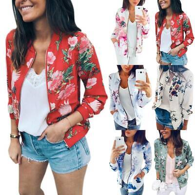 Womens Floral Bomber Short Coat Casual Jackets Zip Slim Fit  Long Sleeve Outwear