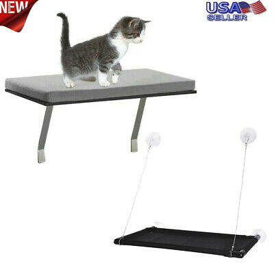 Cat Puppy Window Mounted Basking Bed Pet Shelf Kitten Perch Seat High Hammock US