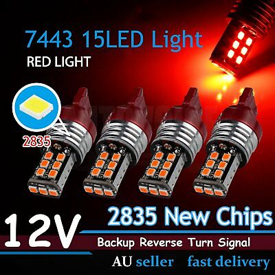 RED 7440 7443 T20 LED Brake Stop Park Turn Backup Signal Globes Replacement 4Pcs