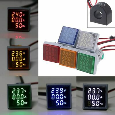 Digital 3in1 AC Ammeter Voltmeter Hz Current Frequency Meter Square Signal Light