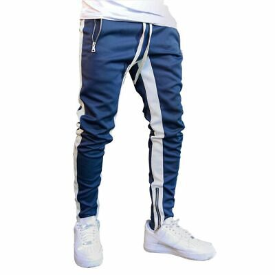 Mens Jogging Pants Tracksuit Bottoms Running Trousers Hiphop Jogger Zipper Ankle