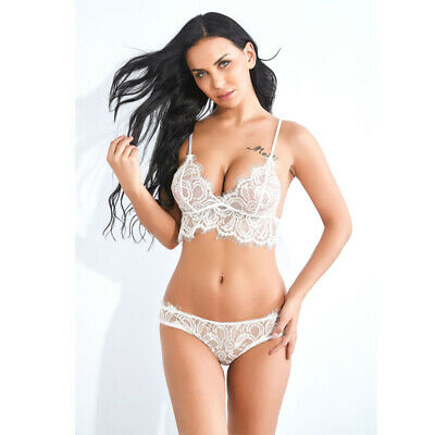 Womens Lace Underwear Suit Lingerie Thong See-through Push Up Bra Shorts Sets