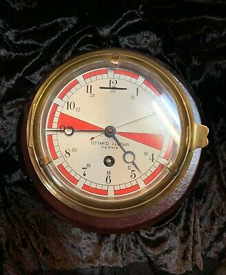 Real brass Ottavio Ferrari Parma Italian nautical clock, circa 1930s