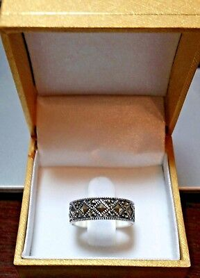 Sterling Silver Marcasite Band Ring Stamped 925 Hallmarked Wr? Vtg Retro Fashion
