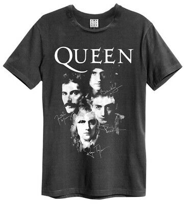 Queen 'Autographs' (Charcoal) T-Shirt - Amplified Clothing - NEW & OFFICIAL!