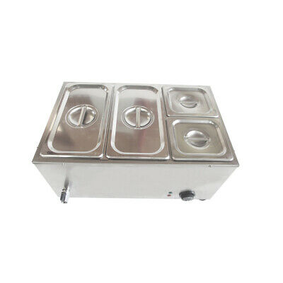 UK Commercial Electric Stainless Steel 4 Pans & Lids Bain Marie Hot Food Warmer