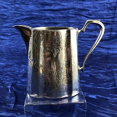 Antique & Rare Victorian English Britanoid Silverplate Creamer Picture Jug