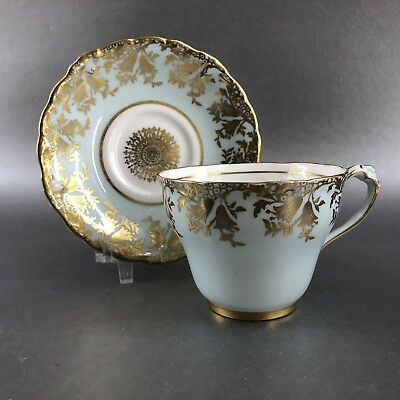 Antique Paragon Teacup & Saucer 1936 Turquoise & Gold Vintage England China