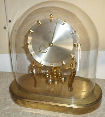 Unusual German Kundo Oval Brass Glass 400 Day Anniversary Torsion Mantel Clock!