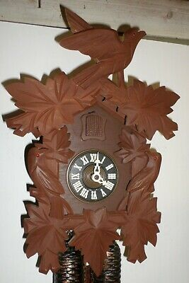 Very Nice Large Rare German Black Forest 3 Bird Traditional 8 Day Cuckoo Clock!