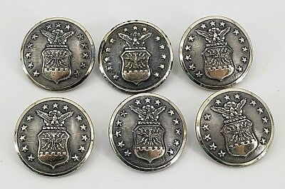 Vintage Lot of 6 Silver Metal Military Buttons Waterbury Eagle Flag Stars