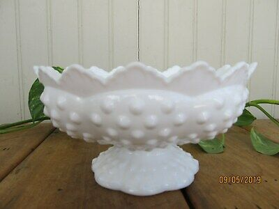Fenton Milk Glass Hobnail Pattern Footed Candle Holder Marked