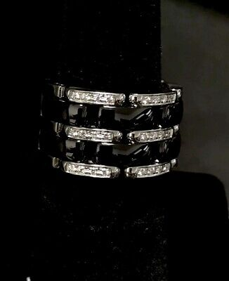 Authentic Chanel Ultra Diamond 18Kt White Gold And Black Ceramic And Diamonds