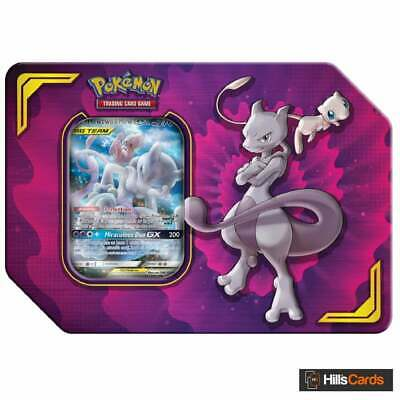 Pokemon Mewtwo & Mew GX Power Partnership Tin | Tag Team Trading Card Game TCG