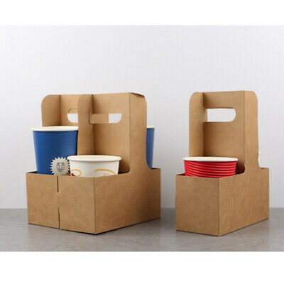 Multi-functional Disposable Kraft Paper Cup Tray Cup Holder for Tea Coffee 5x