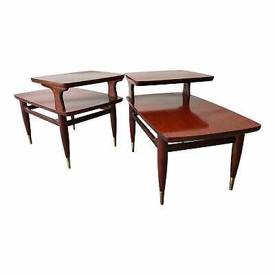 Mid Century Modern Two Tier End Tables a Pair