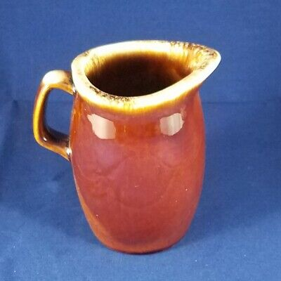 Vintage HULL USA Pottery Oven Proof Creamer/Syrup Pitcher~Brown Drip Glaze