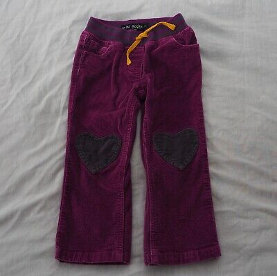 Mini Boden trousers age 3 years purple cord hearts knees applique