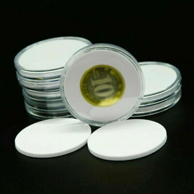 10pcs 34mm x 30mm ACRYLIC COIN CAPSULES with Inserts Coin Size £3.45 freepost UK