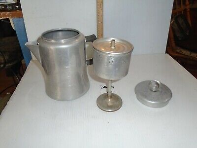 Vintage  Aluminum 8 Cup Home, Camping Stove Top Coffee Pot Percolator