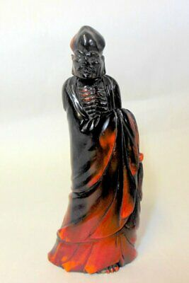 Antique Chinese Asian Carved Buffalo HORN Siddharta God Monk Scholar
