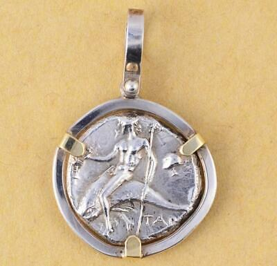 Ancient Greek Boy on Dolphin in Sterling Silver & 14kt Gold Pendant 300 B.C.