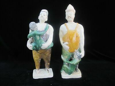 CHINESE Green Yellow Glazed Clay Pottery TOMB Figurine MOTHER Father & Children