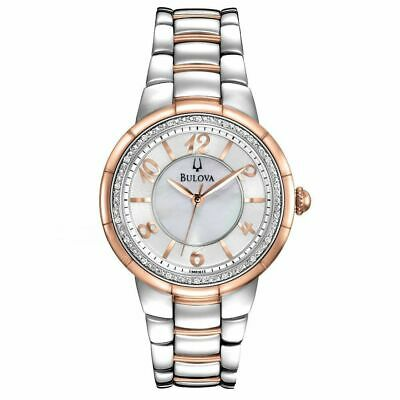 Bulova Women's 98R162 Quartz Diamond Accent Two-Tone Bracelet 34mm Watch