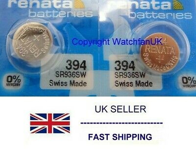 SR936SW Watch Battery x 2  Renata 394 1.55v  Silver Mercury Free