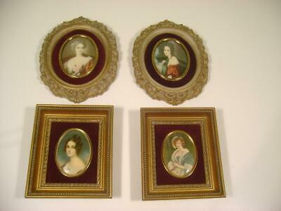 VTG Set of 4 Cameo Creation Lady Portraits in Ornate Gold Frames