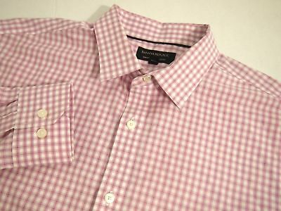 Banana Republic Mens Shirt L Collared Long Sleeve Button Cotton Pink Checkered
