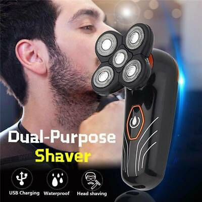 5 Head Men's Electric Rechargeable Floating Shaver Beard Hair Trimmer Bald Razor