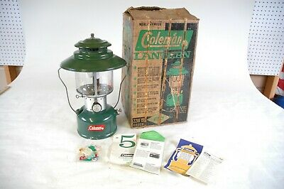 Coleman Lantern Big Hat 228F Double Mantle Green In Box 7 1964