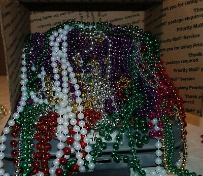 10 POUND  Box of New Orleans MARDI GRAS BEADS Various Sizes and Colors NICE