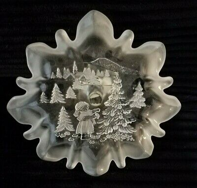 Mikasa Holiday Classic Frosted Footed Crystal Platter Christmas Theme Germany