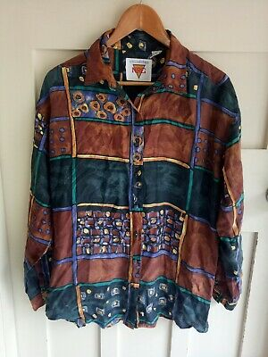Unlimited NRG Vintage Geometric Printed Silk 80s Button Front Men's Shirt Size M