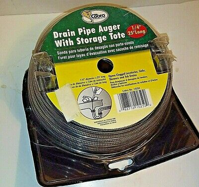 """Cobra 1/4"""" X 25' Long New Drain Pipe Auger With Storage Tote-New In Box"""