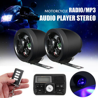 Universal Motorcycle FM Radio MP3 Anti-thief Stereo Speaker Audio System &