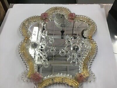 Vintage Murano Wall Hanging Mirror Med Size Glass Old