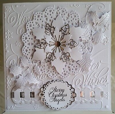 Personalised - CHRISTMAS CARD - Poinsettia - Die-Cuts - Embossing - Foiling