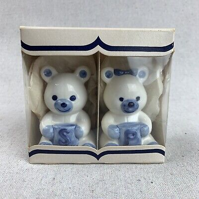 NOS Vintage Dutch Delft Blue - Teddy Bear Salt and Pepper Shakers