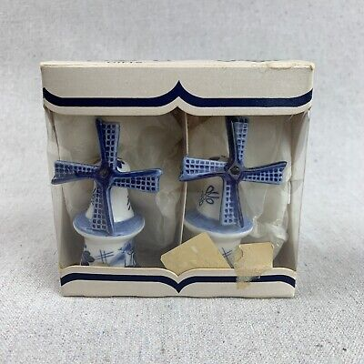 NOS Vintage Dutch Delft Blue - Windmill Salt and Pepper Shakers