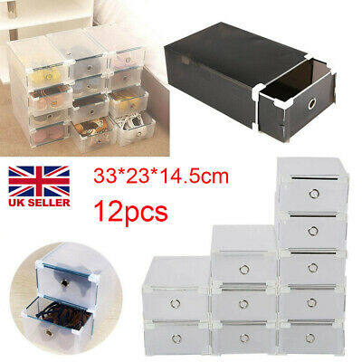 10PCS Plastic Shoe Storage Boxes Drawer Stackable Foldable Durable Organiser