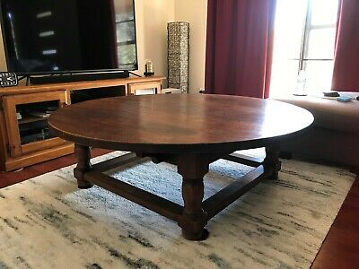"Antique Solid Oak Table - very large 4' 7"" diameter in excellent condition"