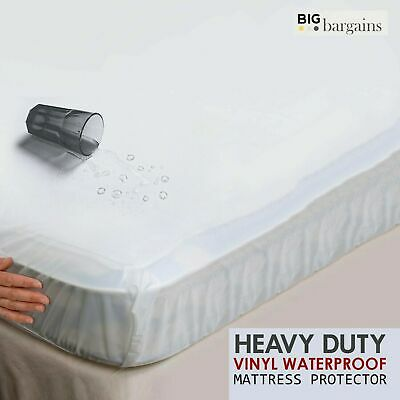 Waterproof Mattress Protector Bed Cover All Sizes in Quilted Terry Towel Vinyl