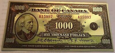 $1000  1935  Bank of Canada  English polymer silver plated banknote