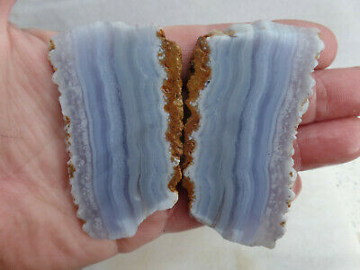 2 x Blue lace agate slabs mineral specimen collection lapidary rough - MB01