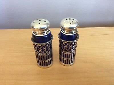 Vintage Silver Plated Pierced Salt And Pepper Shakers With Blue Glass Liners