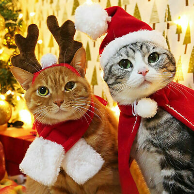 Pet Cat Dog Puppy Santa Red Scarf Hat Christmas Clothes Costumes Warm Apparel