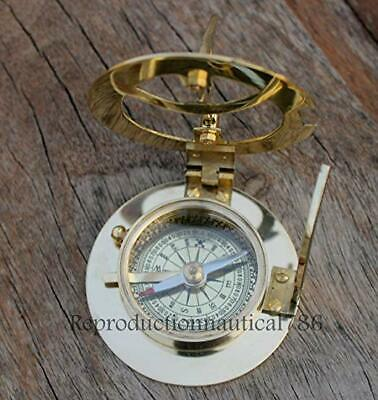 Solid Brass Compass Maritime Nautical Astrolabe Marine Ship Instrument Compass